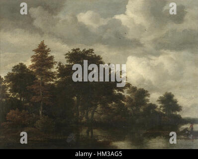 Jacob van Ruisdael - A Woodland landscape with figures by a river - Stock Photo