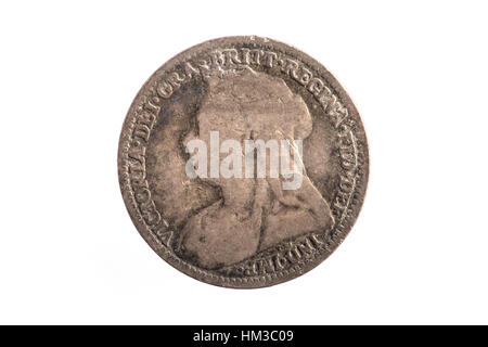 An 1898 Three Penny imperial coin with Queen Victoria on the back - Stock Photo