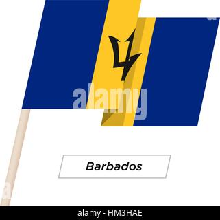 Barbados Ribbon Waving Flag Isolated on White. Vector Illustration. - Stock Photo