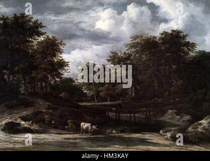 Jacob van Ruisdael - A Woodland Landscape - Barber Institute of Fine Arts - Stock Photo