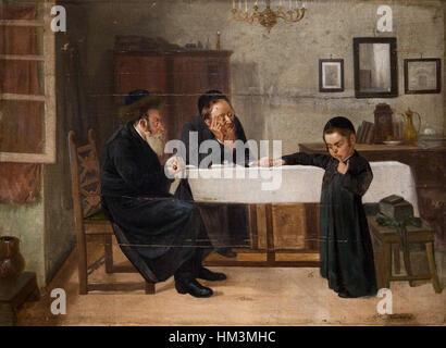 Interieur mit Rabbiner Vater und Sohn - Stock Photo