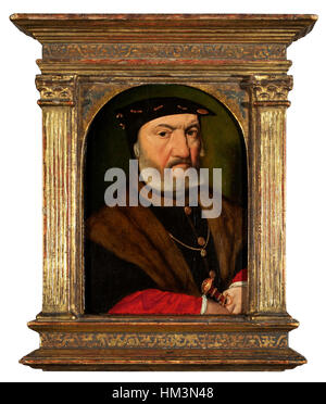 Joos van Cleve, Portrait of a bearded man, bust lenght, wearing a black hat, holding a dagger - Stock Photo