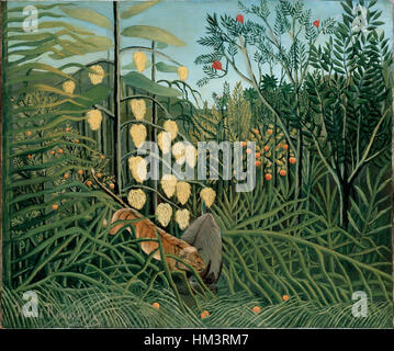 Henri Rousseau - In a Tropical Forest. Struggle between Tiger and Bull - Stock Photo