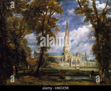 John Constable - Salisbury Cathedral from the Bishop's Grounds - WGA5200 - Stock Photo