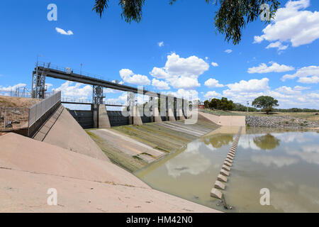 The Main Weir on Menindee Lakes is located along the Darling River and supplies water to Broken Hill, New South - Stock Photo