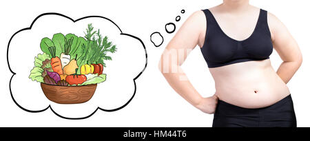 fat woman thinking bubble vegetable diet concept isolated on white background - Stock Photo