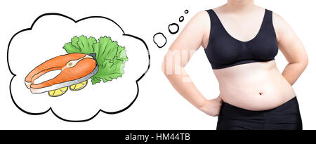 fat woman thinking bubble food fish diet concept isolated on white background - Stock Photo