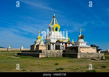 Golden Stupa, Bodhi Suburgan, Erdene Zuu monastery, Karakorum, Kharkhorin, Övörkhangai Aimag, Mongolia - Stock Photo