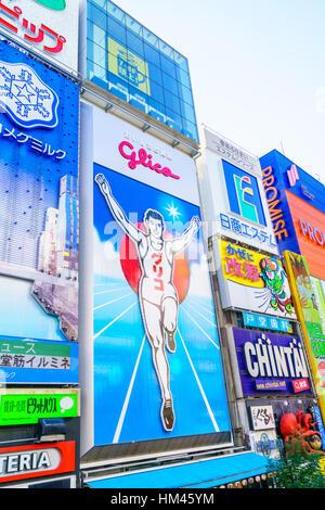 Osaka, Japan - November 30, 2015: Glico billboard is an icon of Dotonbori,  Dotonbori is one of Osaka's primary - Stock Photo