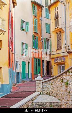 Nice old town, Vieille Ville, Cote d'Azur, France - Stock Photo
