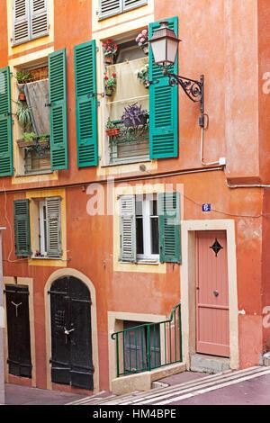 Nice old town, Vieille Ville street scene, Cote d'Azur, France - Stock Photo