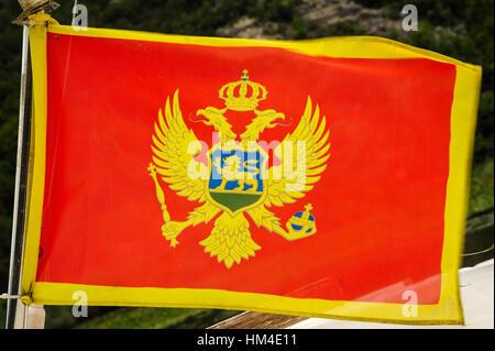 National flag of Montenegro - Stock Photo