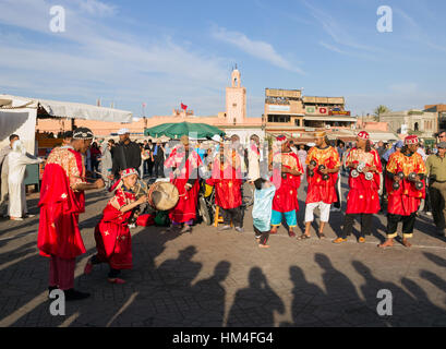 MARRAKECH, MOROCCO - APR 29, 2016: Gnawa Musicians performing on the Djemaa El Fna square In Marrakech, Morocco - Stock Photo