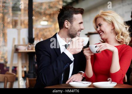 Romantic scene of joyful couple - Stock Photo