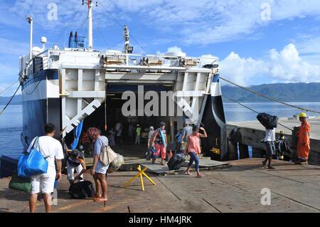 SAVUSAVU, FIJI - JAN 07 2017:Passengers departing of inter island ferry between the major Islands of Fiji, Viti - Stock Photo