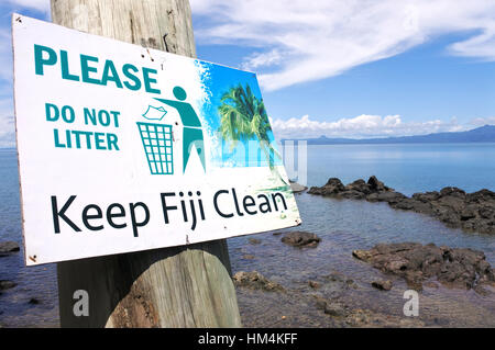 SAVUSAVU, FIJI - JAN 15 2017:Keep Fiji Clean sign.In Fiji illegal dumping and burning of waste are still  common - Stock Photo