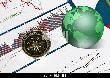 Compass On Paper Work With Diagram Stock Photo 76860694 Alamy
