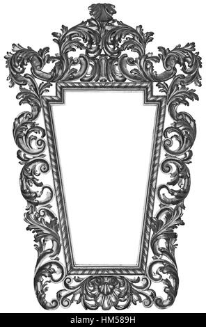 Antique silver plated wooden frame Isolated on white background - Stock Photo