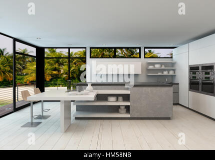 Open plan modern kitchen in a tropical villa with large view windows overlooking palm trees and a wooden exterior - Stock Photo