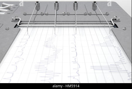 A D Render Of A Polygraph Lie Detector Machine Drawing Red Lines On