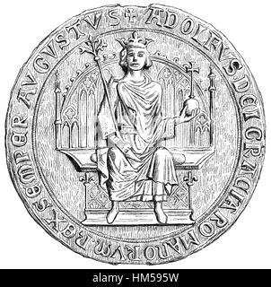Small Throne Seal of Adolf of Nassau, c. 1255-1298, Count of Nassau and King of the Romans - Stock Photo
