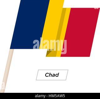 Chad Ribbon Waving Flag Isolated on White. Vector Illustration. - Stock Photo