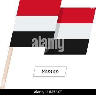 Yemen Ribbon Waving Flag Isolated on White. Vector Illustration. - Stock Photo