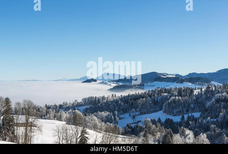 View from Rengg Pass, winter landscape, mountain landscape above the clouds, Lucerne, Switzerland - Stock Photo