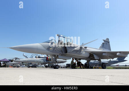 BERLIN, GERMANY - MAY 22: Czech Air Force Saab JAS-39 Gripen at the International Aerospace Exhibition ILA on May - Stock Photo