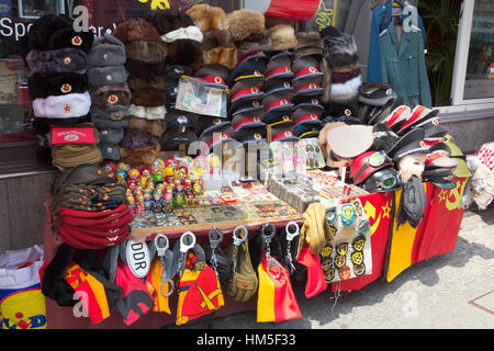 BERLIN, GERMANY - MAY 23: Sale stand of Soviet and DDR militaria near Checkpoint Charlie on May 23, 2014 in Berlin, - Stock Photo