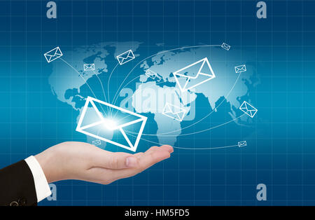Hands with world mail delivery on world map background Stock Photo ...