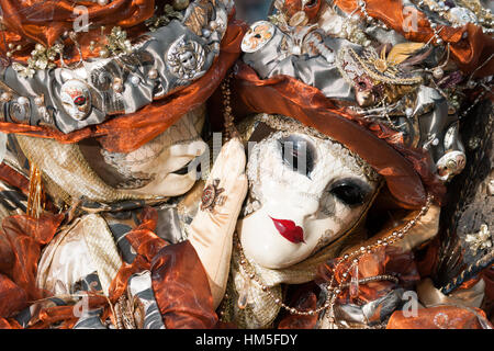 VENICE - FEB 6, 2013: Costumed people on the Piazza San Marco during Venice Carnival. - Stock Photo