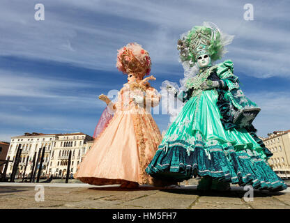 VENICE - FEBRUARY 7: Costumed people on the Piazza San Marco during Venice Carnival on February 7, 2013 in Venice, - Stock Photo