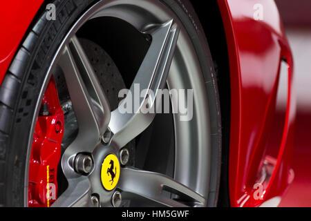 FRANKFURT, GERMANY - SEP 20: Close-up of the Ferrari FF at the IAA motor show on Sep 20, 2013 in Frankfurt. More - Stock Photo