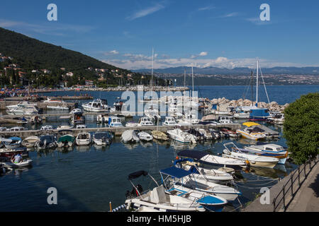 A small harbor in the coastal town of Icici on the Istria Peninsula on northwest Croatia. It is popular tourist - Stock Photo