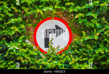 Turns to the right sign with green leaf - Stock Photo