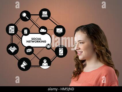 Digitally generated image of woman standing near social networking icons - Stock Photo