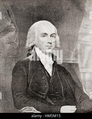 James Madison, Jr., 1751 – 1836. American statesman and Founding Father who served as the fourth President of the - Stock Photo