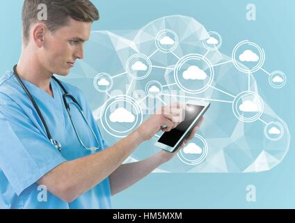 Digital composite image of doctor using digital tablet against cloud computing icons - Stock Photo