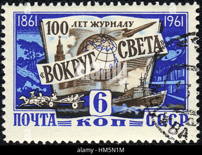 A postage stamp printed in USSR shows 100 years of the magazine 'Around the World', 1961 - Stock Photo