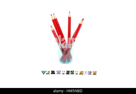 Red pencils and the word verkiezingen which means elections in dutch which takes place on march 15, 2017 in the - Stock Photo
