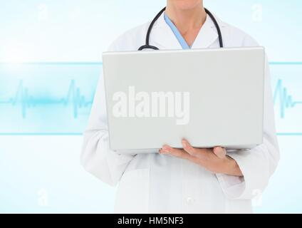 Doctor using laptop against blue background with heart rate - Stock Photo