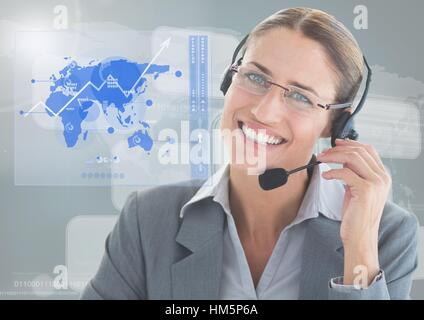 Female executive wearing headset against digital generated background - Stock Photo