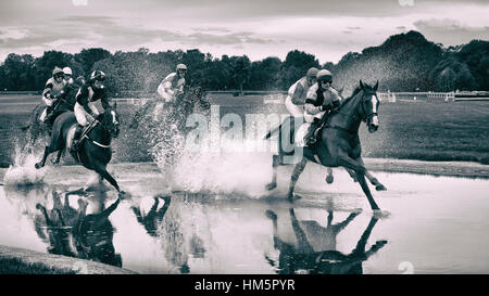 WROCLAW, POLAND - SEPTEMBER 4; 2016: Horse racing - Grand Wroclawska Prize Airport Wroclaw. Leads M. Stromsky (10) - Stock Photo