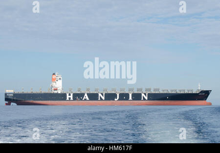 An empty Hanjin container ship moored in the waters East of Gibraltar probably waiting to be sold after the company - Stock Photo