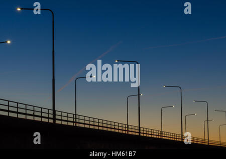 Oland Bridge detail. The bridge is connecting the island Oland in the Baltic Sea with mainland Sweden - Stock Photo