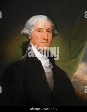 George Washington, portrait by Gilbert Stuart, oil on canvas, c.1795/6. The Gibbs-Channing-Avery Portrait. - Stock Photo