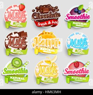 Set of chocolate, banana, strawberry milk, smoothie and honey labels splash. Lettering, splash and blot design, - Stock Photo