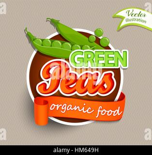 Green peas logo lettering typography food label or sticer. Concept for farmers market, organic food, natural product - Stock Photo
