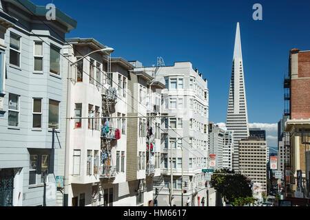Private buildings and Transamerica Pyramid, San Francisco, California USA - Stock Photo